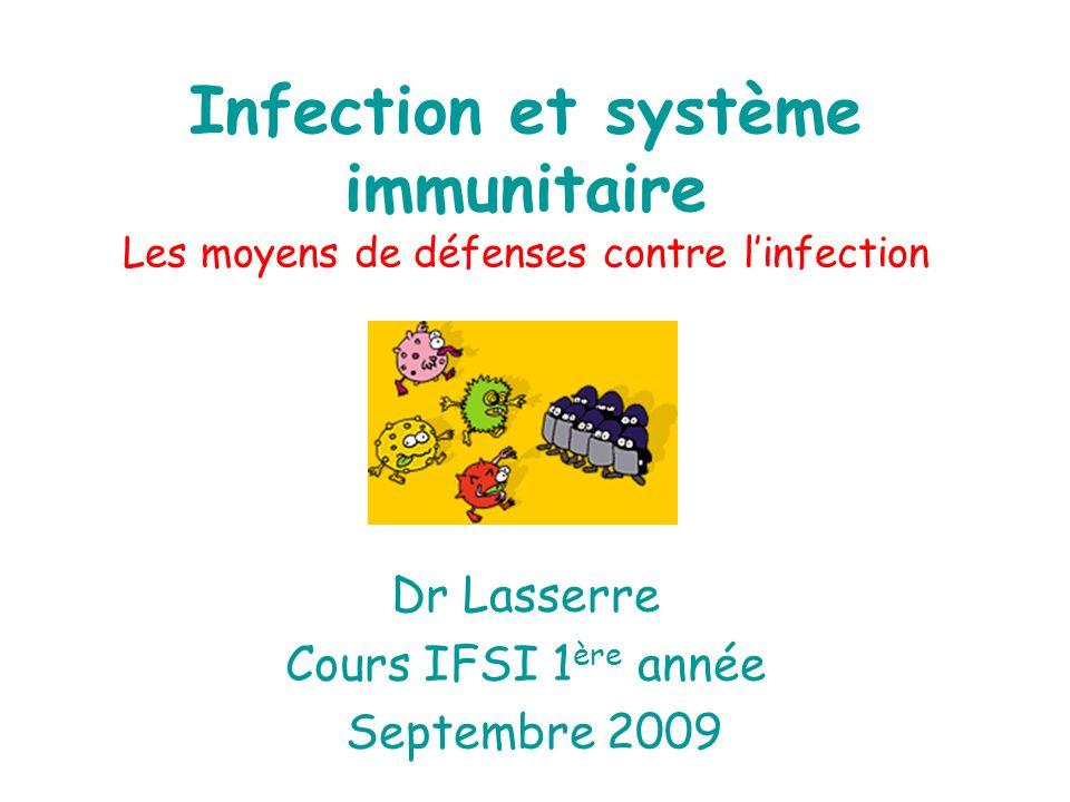 Infection et système immunitaire Les moyens de défenses contre linfection Dr Lasserre Cours IFSI 1 ère année Septembre 2009
