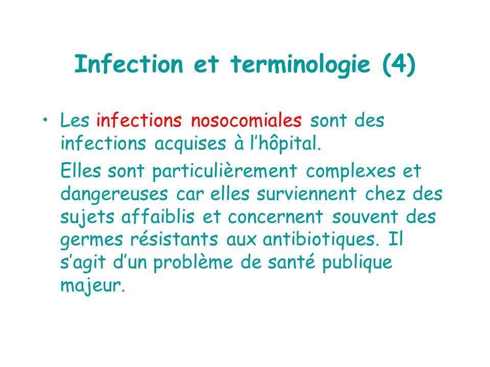 Infection et terminologie (4) Les infections nosocomiales sont des infections acquises à lhôpital. Elles sont particulièrement complexes et dangereuse