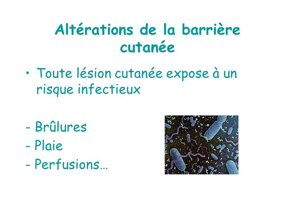Altérations de la barrière cutanée Toute lésion cutanée expose à un risque infectieux - Brûlures - Plaie - Perfusions…