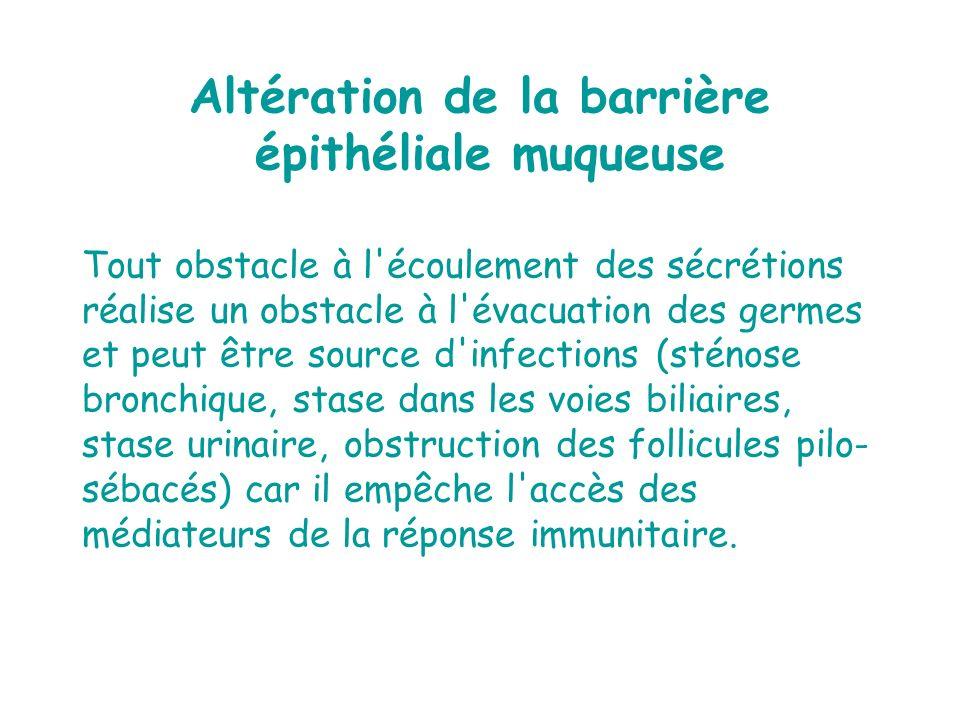 Tout obstacle à l'écoulement des sécrétions réalise un obstacle à l'évacuation des germes et peut être source d'infections (sténose bronchique, stase