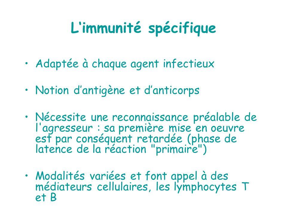 Limmunité spécifique Adaptée à chaque agent infectieux Notion dantigène et danticorps Nécessite une reconnaissance préalable de l'agresseur : sa premi