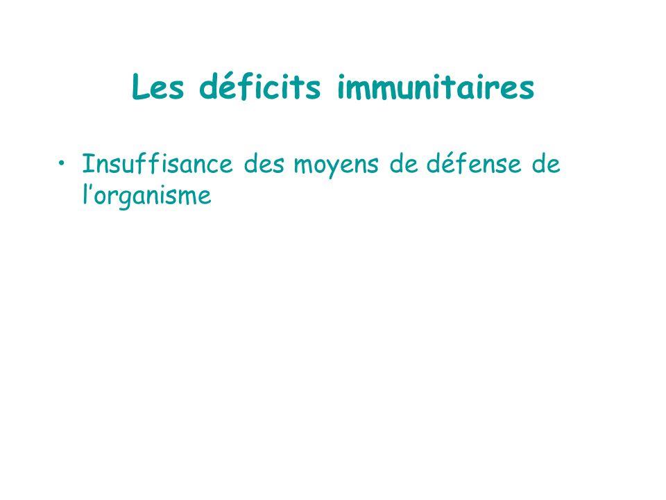 Les déficits immunitaires Insuffisance des moyens de défense de lorganisme