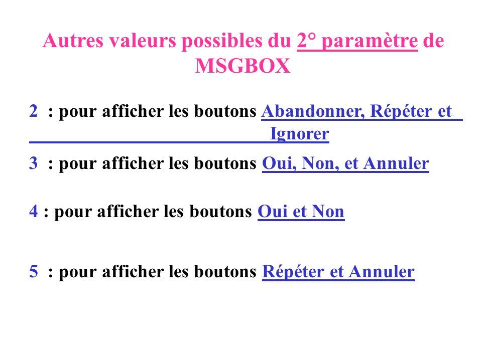 Autres valeurs possibles du 2° paramètre de MSGBOX 2 : pour afficher les boutons Abandonner, Répéter et Ignorer 3 : pour afficher les boutons Oui, Non
