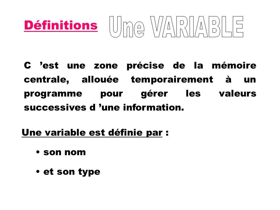 Définitions C est une zone précise de la mémoire centrale, allouée temporairement à un programme pour gérer les valeurs successives d une information.