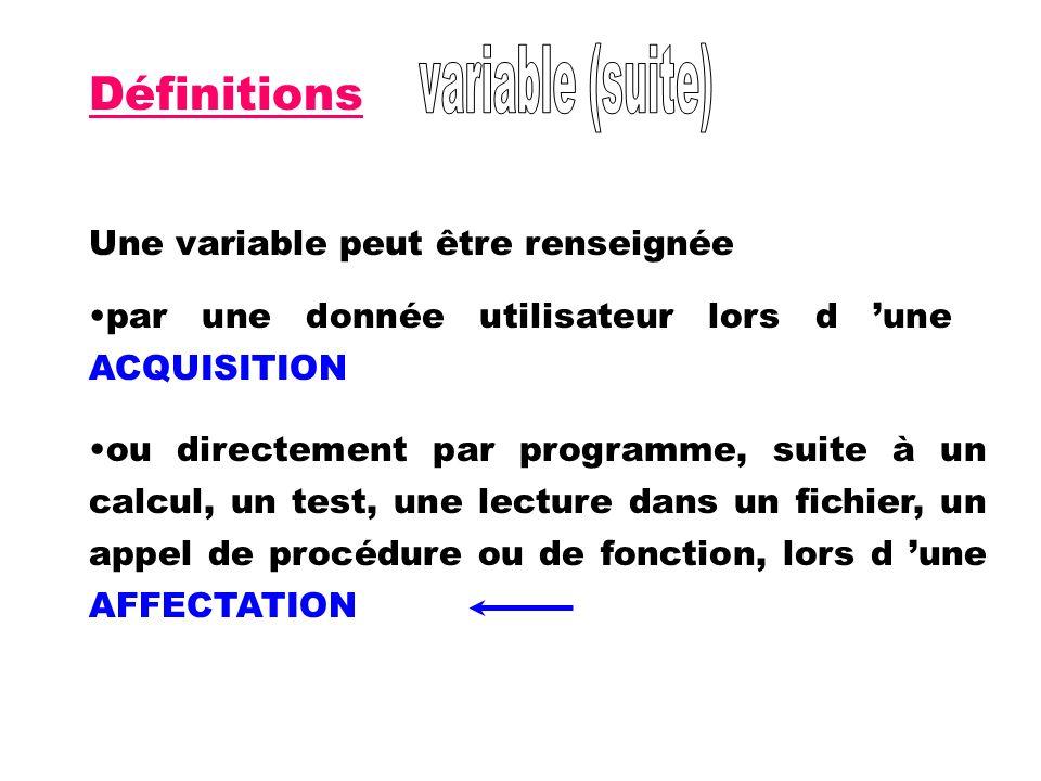 Définitions Une variable peut être renseignée par une donnée utilisateur lors d une ACQUISITION ou directement par programme, suite à un calcul, un te