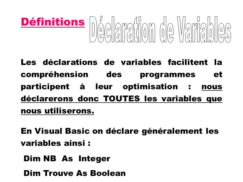 Définitions Les déclarations de variables facilitent la compréhension des programmes et participent à leur optimisation : nous déclarerons donc TOUTES