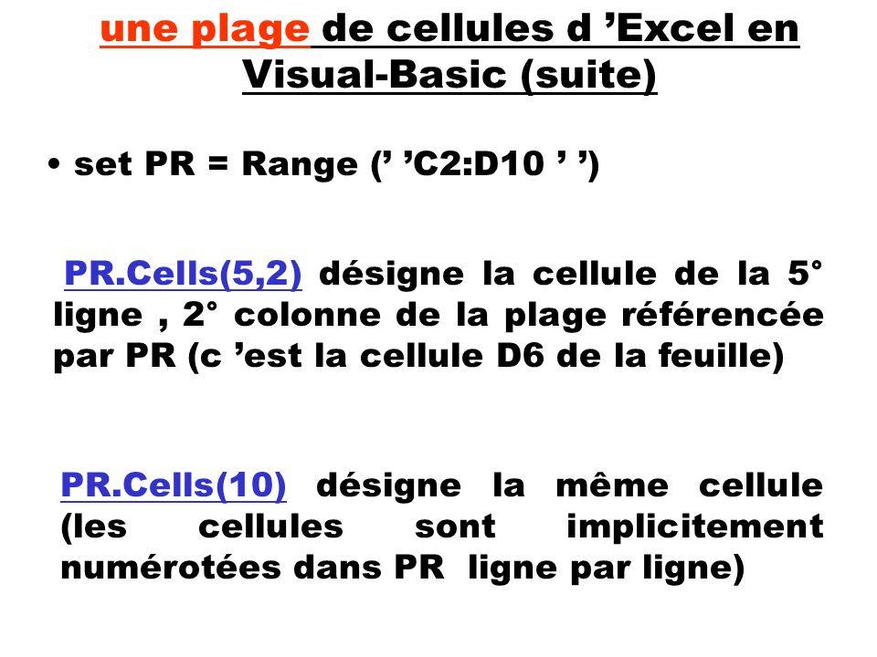 PR.Cells(5,2) désigne la cellule de la 5° ligne, 2° colonne de la plage référencée par PR (c est la cellule D6 de la feuille) set PR = Range ( C2:D10