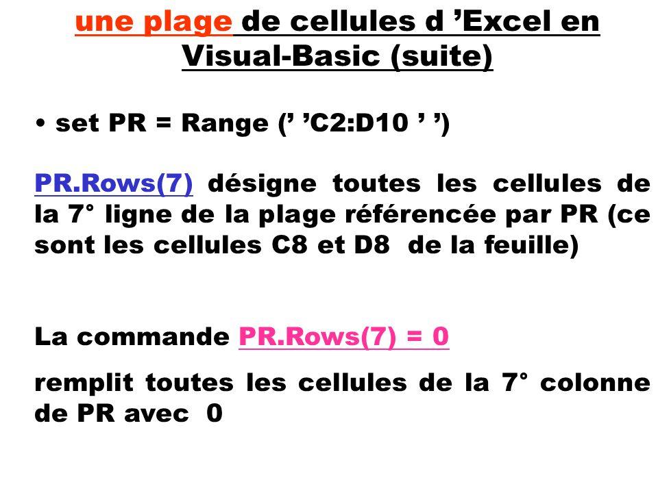 set PR = Range ( C2:D10 ) une plage de cellules d Excel en Visual-Basic (suite) PR.Rows(7) désigne toutes les cellules de la 7° ligne de la plage réfé
