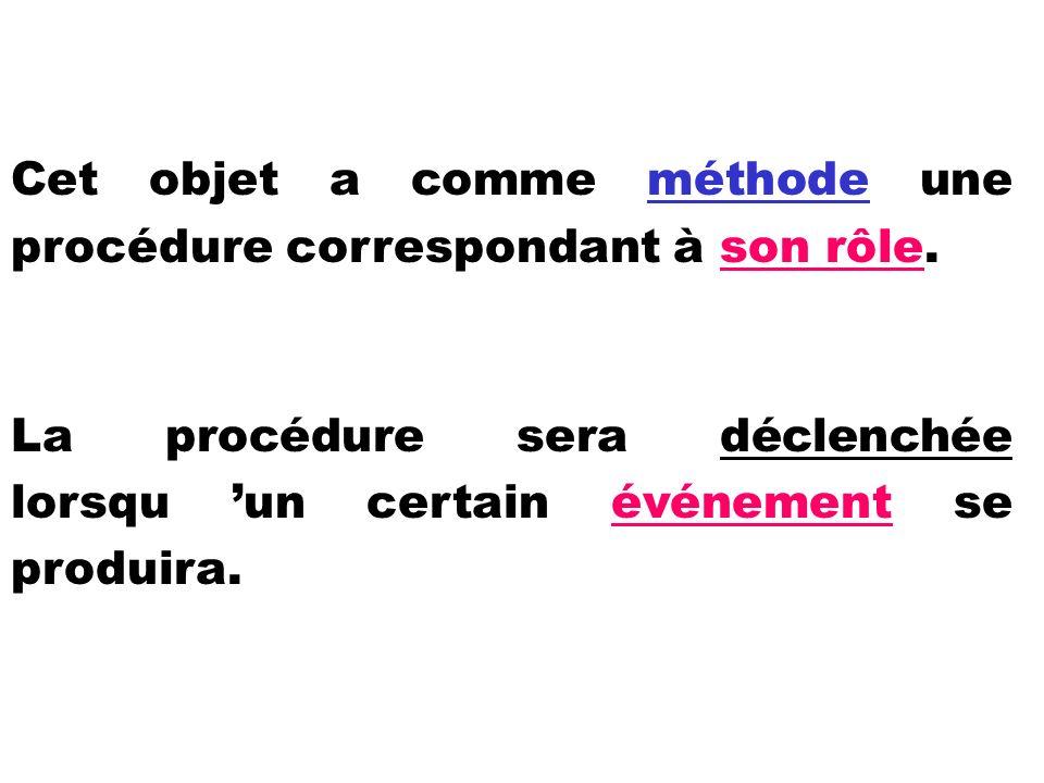 Cet objet a comme méthode une procédure correspondant à son rôle. La procédure sera déclenchée lorsqu un certain événement se produira.