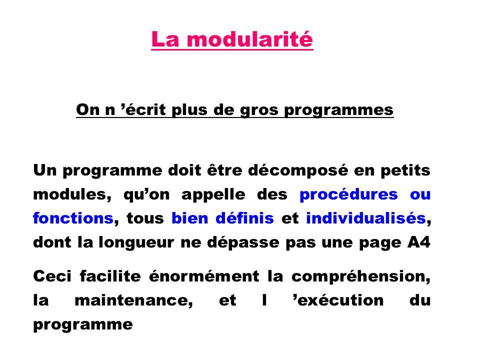 La modularité On n écrit plus de gros programmes Un programme doit être décomposé en petits modules, quon appelle des procédures ou fonctions, tous bien définis et individualisés, dont la longueur ne dépasse pas une page A4 Ceci facilite énormément la compréhension, la maintenance, et l exécution du programme