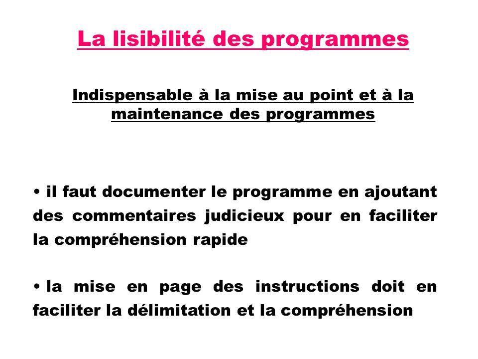 La lisibilité des programmes Indispensable à la mise au point et à la maintenance des programmes il faut documenter le programme en ajoutant des commentaires judicieux pour en faciliter la compréhension rapide la mise en page des instructions doit en faciliter la délimitation et la compréhension