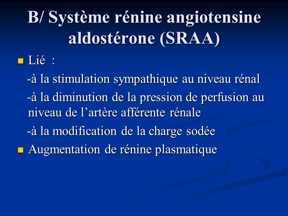 B/ Système rénine angiotensine aldostérone (SRAA) Lié : Lié : -à la stimulation sympathique au niveau rénal -à la stimulation sympathique au niveau ré