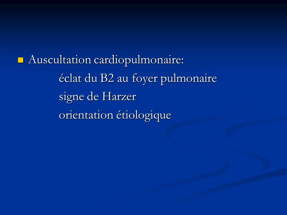 Auscultation cardiopulmonaire: Auscultation cardiopulmonaire: éclat du B2 au foyer pulmonaire éclat du B2 au foyer pulmonaire signe de Harzer signe de