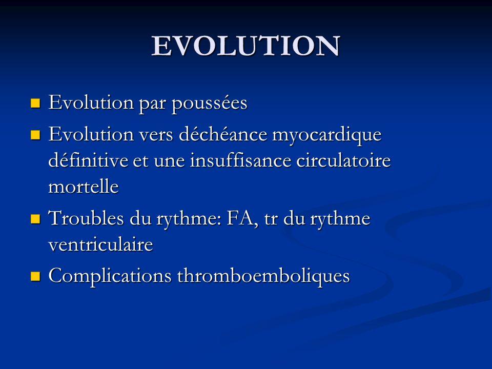 EVOLUTION Evolution par poussées Evolution par poussées Evolution vers déchéance myocardique définitive et une insuffisance circulatoire mortelle Evol