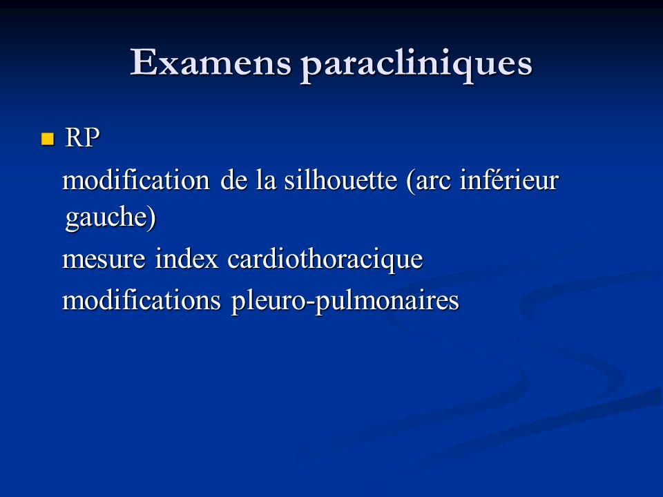 Examens paracliniques RP RP modification de la silhouette (arc inférieur gauche) modification de la silhouette (arc inférieur gauche) mesure index car