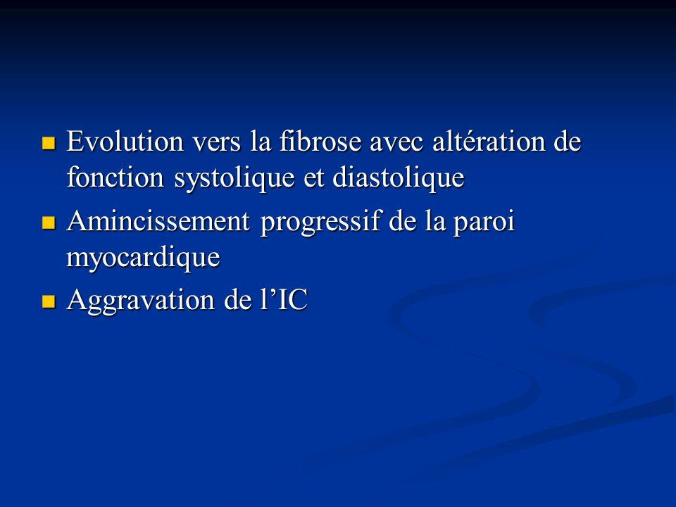 Evolution vers la fibrose avec altération de fonction systolique et diastolique Evolution vers la fibrose avec altération de fonction systolique et di