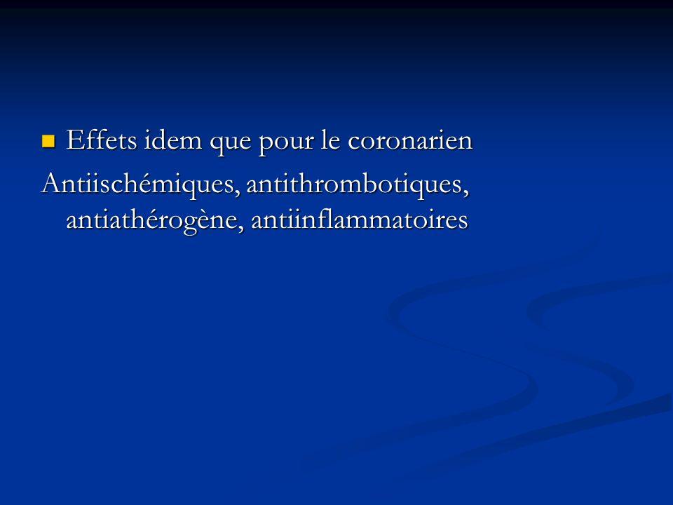 Effets idem que pour le coronarien Effets idem que pour le coronarien Antiischémiques, antithrombotiques, antiathérogène, antiinflammatoires