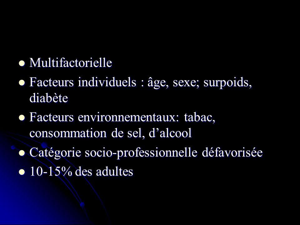 1) Règles hygiéno-diététiques: Diminution du sel et de lalcool Diminution du sel et de lalcool Perte de poids Perte de poids Lutte contre les FDRCV associés Lutte contre les FDRCV associés 2) Traitement anti-HTA: IEC, Bétabloquants, ARA2, diurétiques, inhibiteurs calciques en monothérapie puis association si inéfficace