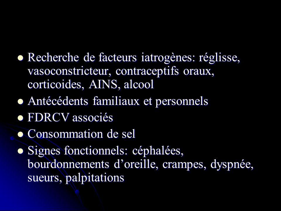 Examen clinique Examen clinique Bilan complémentaire minimal: Bilan complémentaire minimal: - sang: natrémie, kaliémie, créatininémie, glycémie, hématocrite, choléstérolémie - sang: natrémie, kaliémie, créatininémie, glycémie, hématocrite, choléstérolémie - urines: protéinurie, hématurie, glycosurie - urines: protéinurie, hématurie, glycosurie - ECG - ECG - Fond doeil - Fond doeil