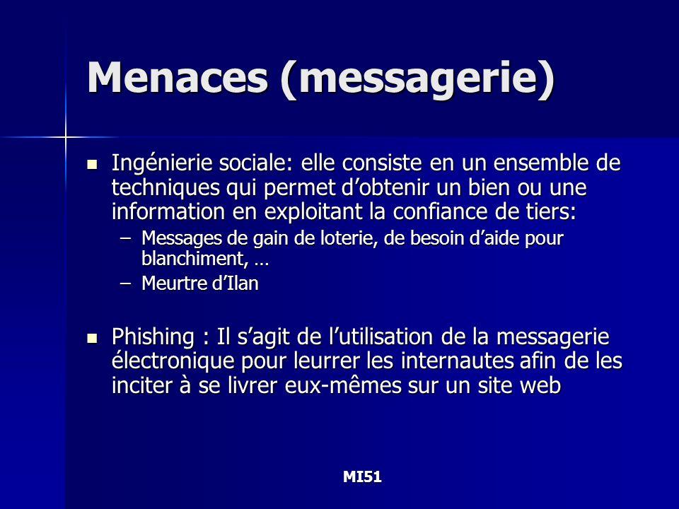 MI51 Menaces (messagerie) Ingénierie sociale: elle consiste en un ensemble de techniques qui permet dobtenir un bien ou une information en exploitant