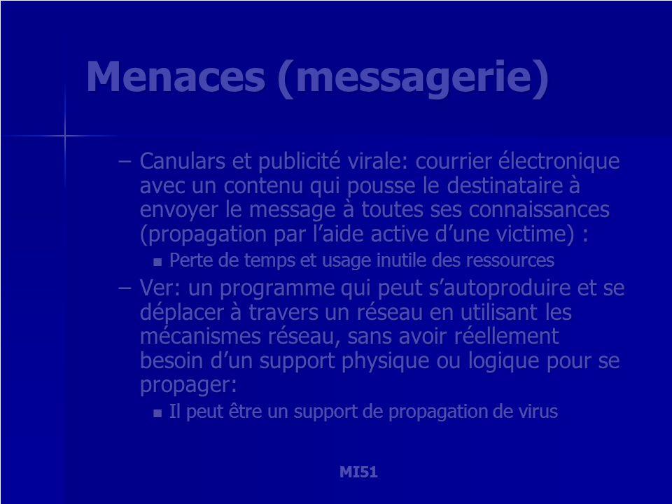 MI51 Menaces (messagerie) –Canulars et publicité virale: courrier électronique avec un contenu qui pousse le destinataire à envoyer le message à toute