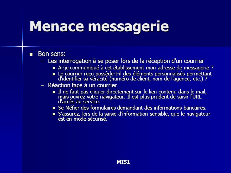 MI51 Menace messagerie Bon sens: Bon sens: –Les interrogation à se poser lors de la réception dun courrier Ai-je communiqué à cet établissement mon ad