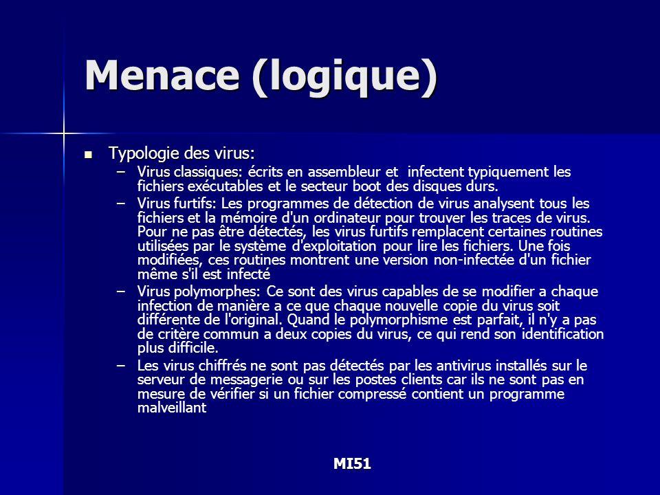 MI51 Menace (logique) Typologie des virus: Typologie des virus: –Virus classiques: –Virus classiques: écrits en assembleur et infectent typiquement le