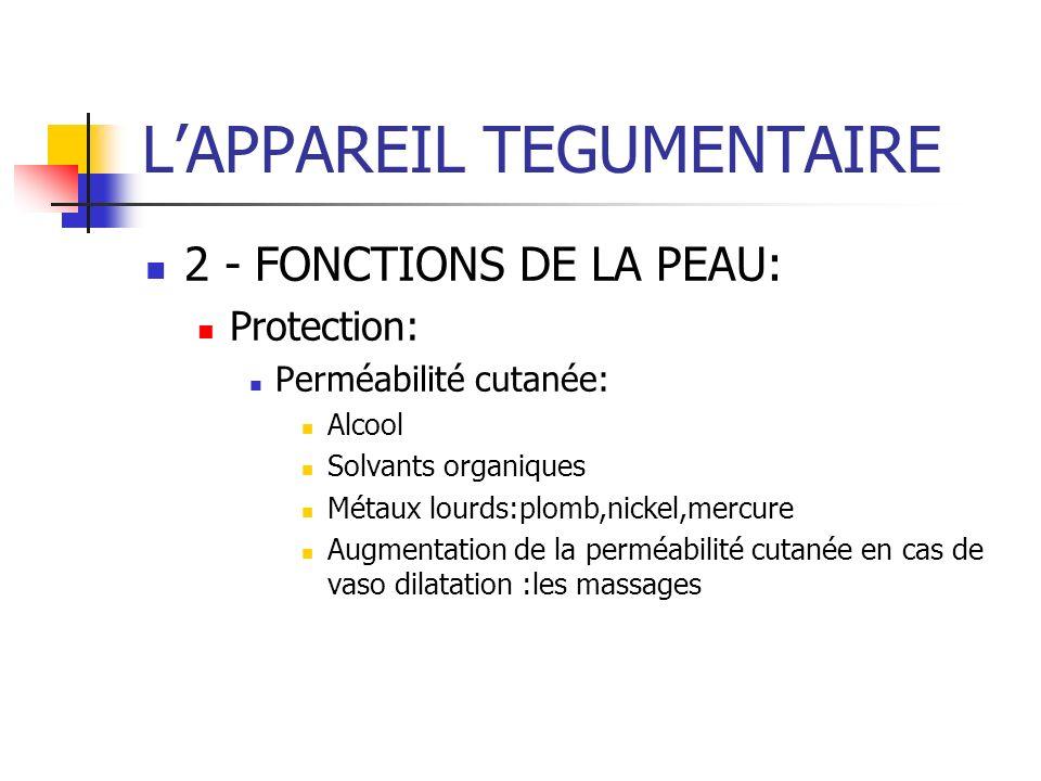 LAPPAREIL TEGUMENTAIRE 2 - FONCTIONS DE LA PEAU: Protection: Perméabilité cutanée: Alcool Solvants organiques Métaux lourds:plomb,nickel,mercure Augme