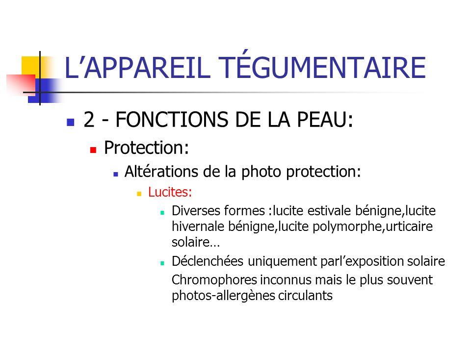 2 - FONCTIONS DE LA PEAU: Protection: Altérations de la photo protection: Lucites: Diverses formes :lucite estivale bénigne,lucite hivernale bénigne,l