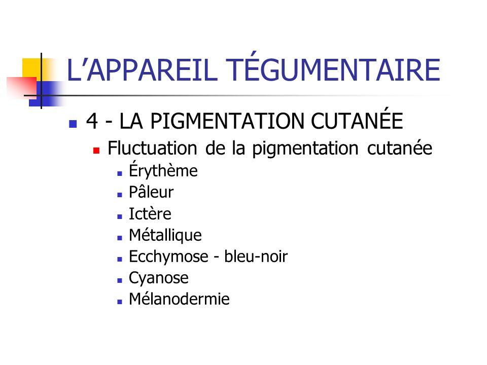 LAPPAREIL TÉGUMENTAIRE 4 - LA PIGMENTATION CUTANÉE Fluctuation de la pigmentation cutanée Érythème Pâleur Ictère Métallique Ecchymose - bleu-noir Cyan