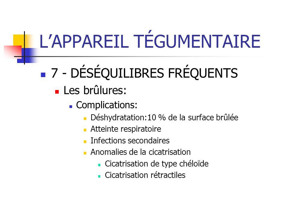 LAPPAREIL TÉGUMENTAIRE 7 - DÉSÉQUILIBRES FRÉQUENTS Les brûlures: Complications: Déshydratation:10 % de la surface brûlée Atteinte respiratoire Infecti