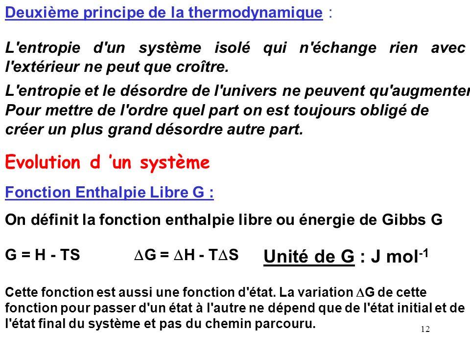 11 Deuxième principe de la thermodynamique: On définit la fonction entropie S par : Cette fonction est aussi une fonction d'état. La variation S de ce