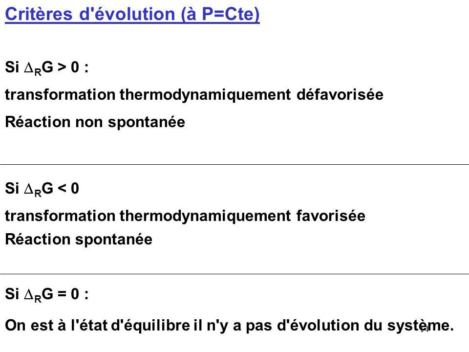13 Cette fonction G est utilisée pour prévoir comment va évoluer un système à pression constante. La variation d'enthalpie libre G d'une transformatio