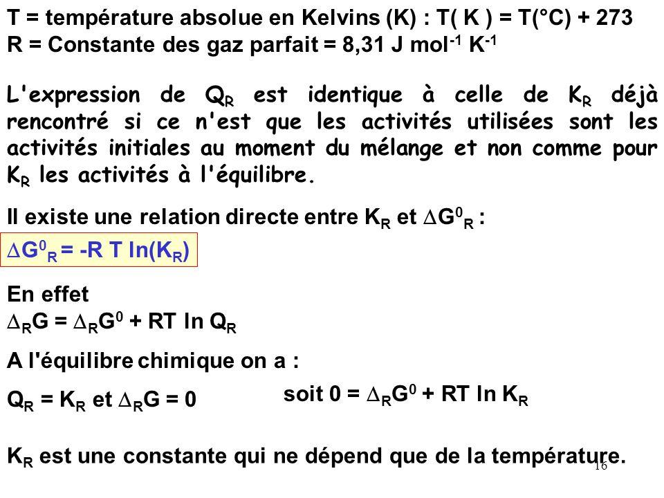 15 On se place très généralement dans les conditions standard à P = 1 bar, la température est très souvent prise égale à 298 K (25 °C) Dans ces condit