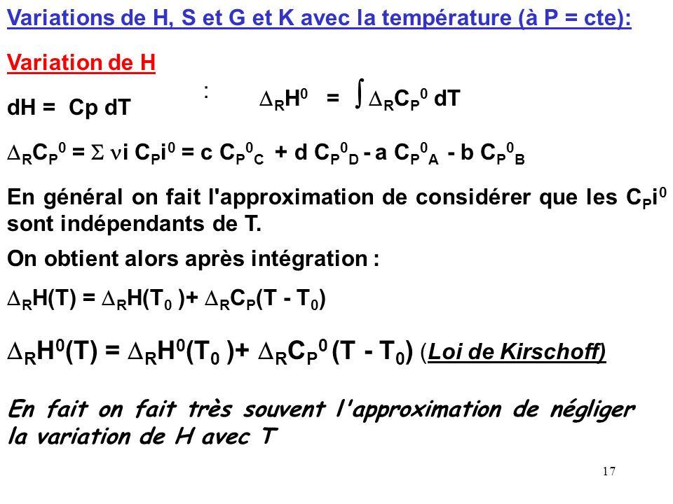 16 T = température absolue en Kelvins (K) : T( K ) = T(°C) + 273 R = Constante des gaz parfait = 8,31 J mol -1 K -1 L'expression de Q R est identique