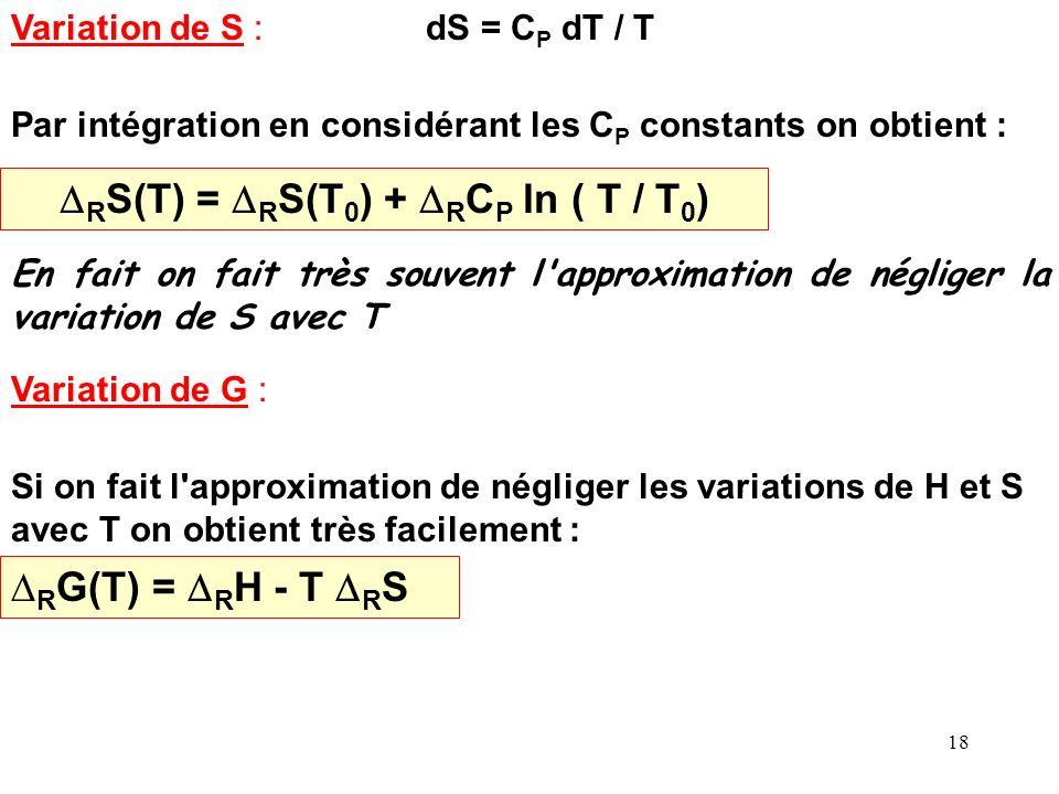 17 Variations de H, S et G et K avec la température (à P = cte): : Variation de H dH = Cp dT R H 0 = R C P 0 dT R C P 0 = i C P i 0 = c C P 0 C + d C