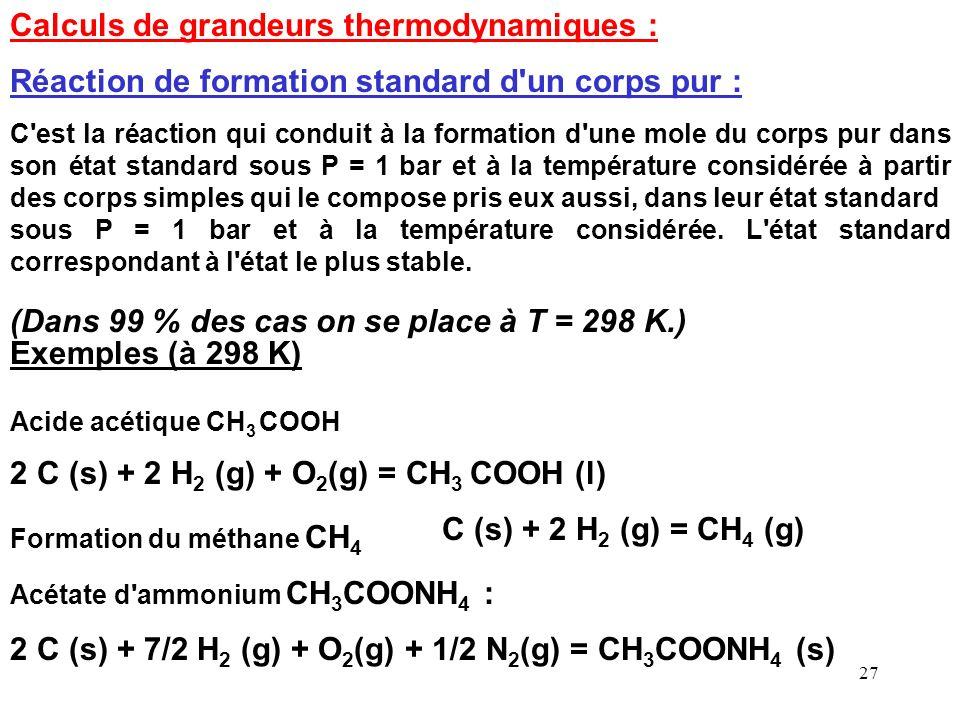 26 Influence de la Pression Dans le cas où la réaction nest pas effectuée à pression constante le principe de Le Chatelier permet de prévoir leffet du