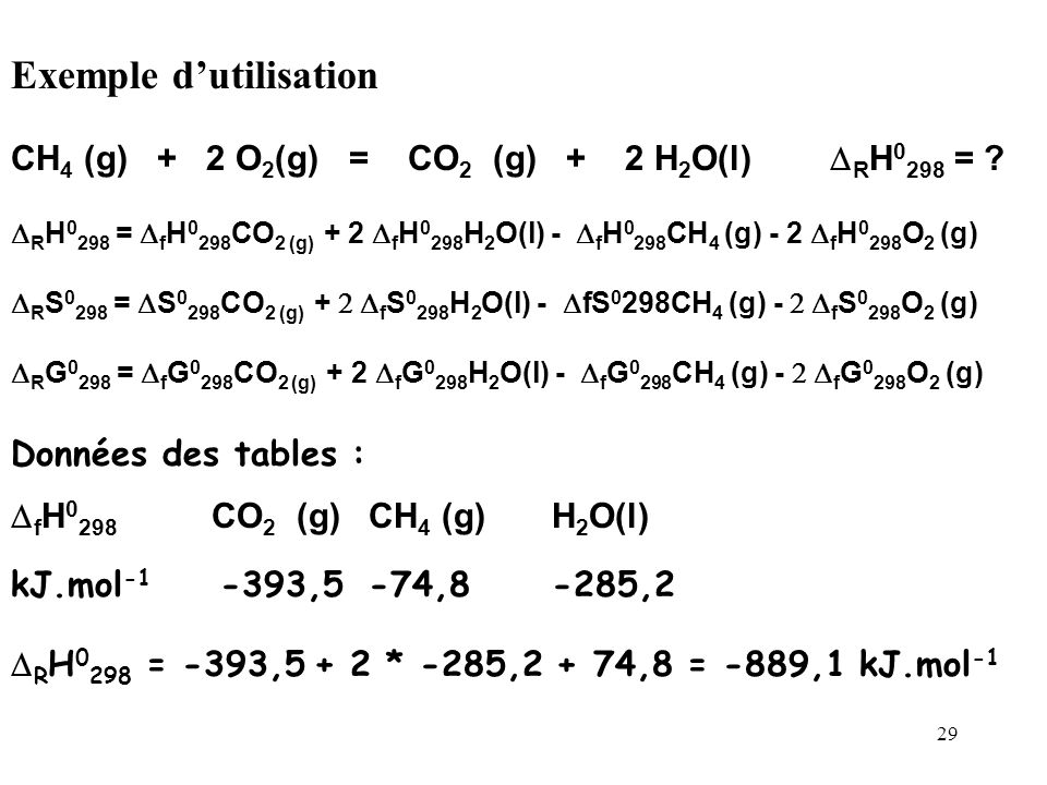 28 Pour ces réactions standards de formation on définit des enthalpies de formation standard f H 0, des entropies de formation standard S f 0, et des
