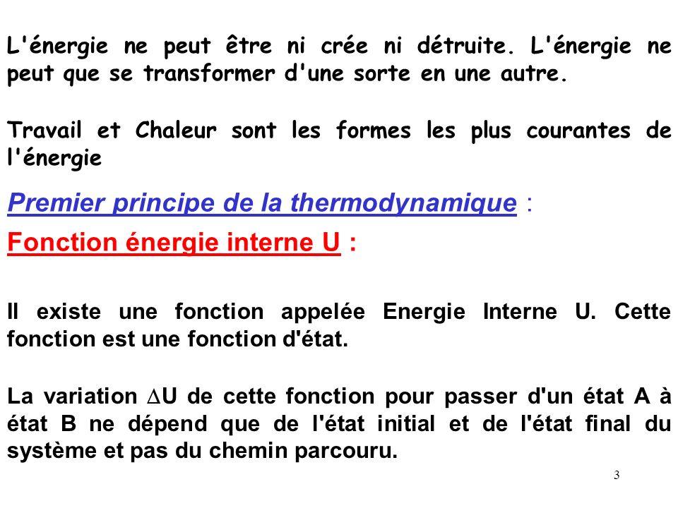 2 Au cours d'une réaction chimique il peut y avoir : dégagement ou absorbtion de chaleur création d'énergie électrique etc La thermodynamique étudie c