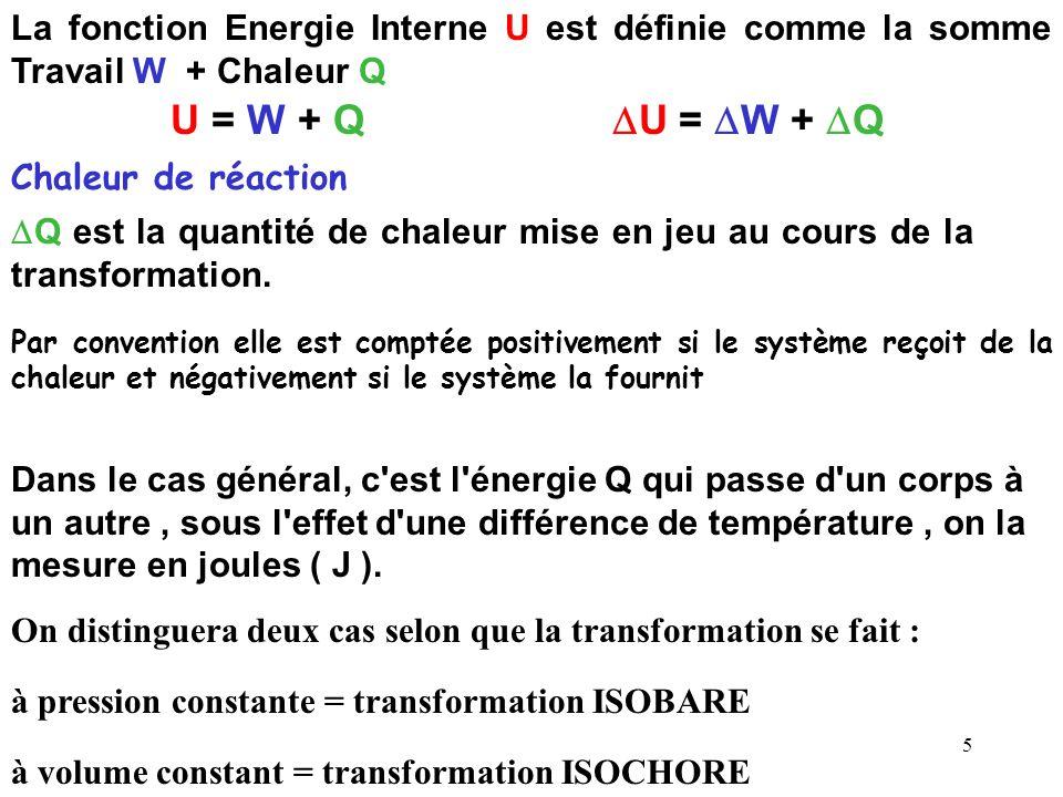 5 La fonction Energie Interne U est définie comme la somme Travail W + Chaleur Q U = W + Q Q est la quantité de chaleur mise en jeu au cours de la transformation.