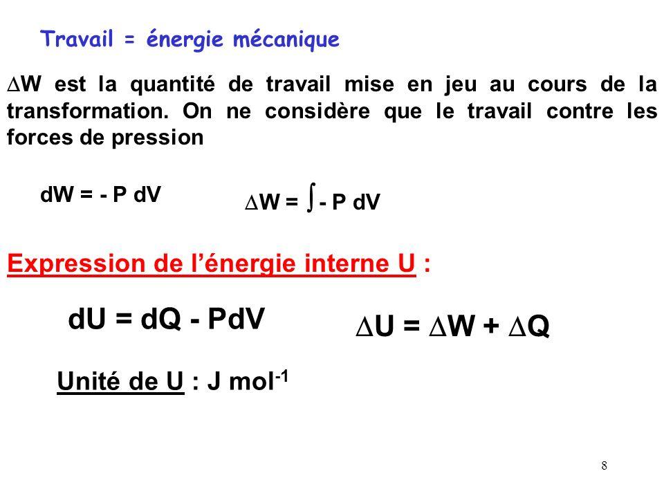 7 Cas particulier : Changement détat La quantité de chaleur Q P reçue par un système, à pression constante, peut entraîner un changement d'état physiq