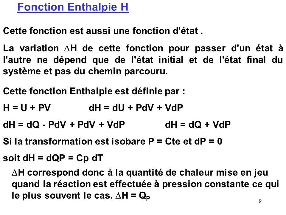 19 ln K R = - R H 0 / R T + R S 0 / R Variation de K R avec T : R G 0 (T) = R H 0 - T R S 0 = -R T ln K R Si on porte ln K R en fonction de 1/T on obtient directement les valeurs de R H 0 et R S 0 Ordonnée à l origine O = R S 0 / R Ln K R 1/T (K -1 ) Pente P = - R H 0 / R