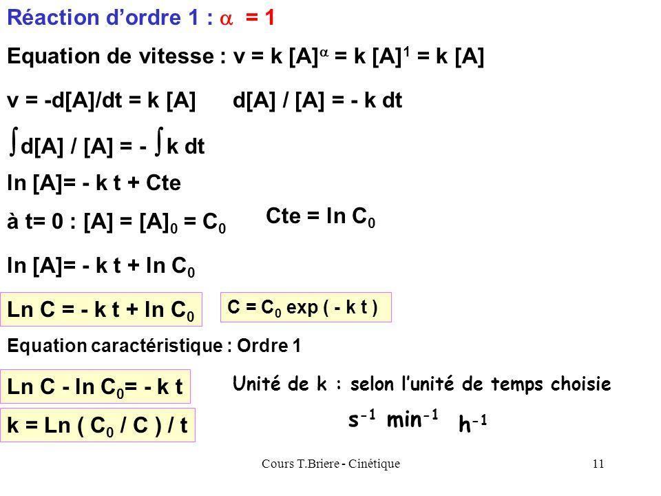Cours T.Briere - Cinétique10 C = - k t + C 0 Equation caractéristique : Ordre 0 Cest léquation dune droite C t Pente = - k k = ( C 0 - C ) / t Ordonné