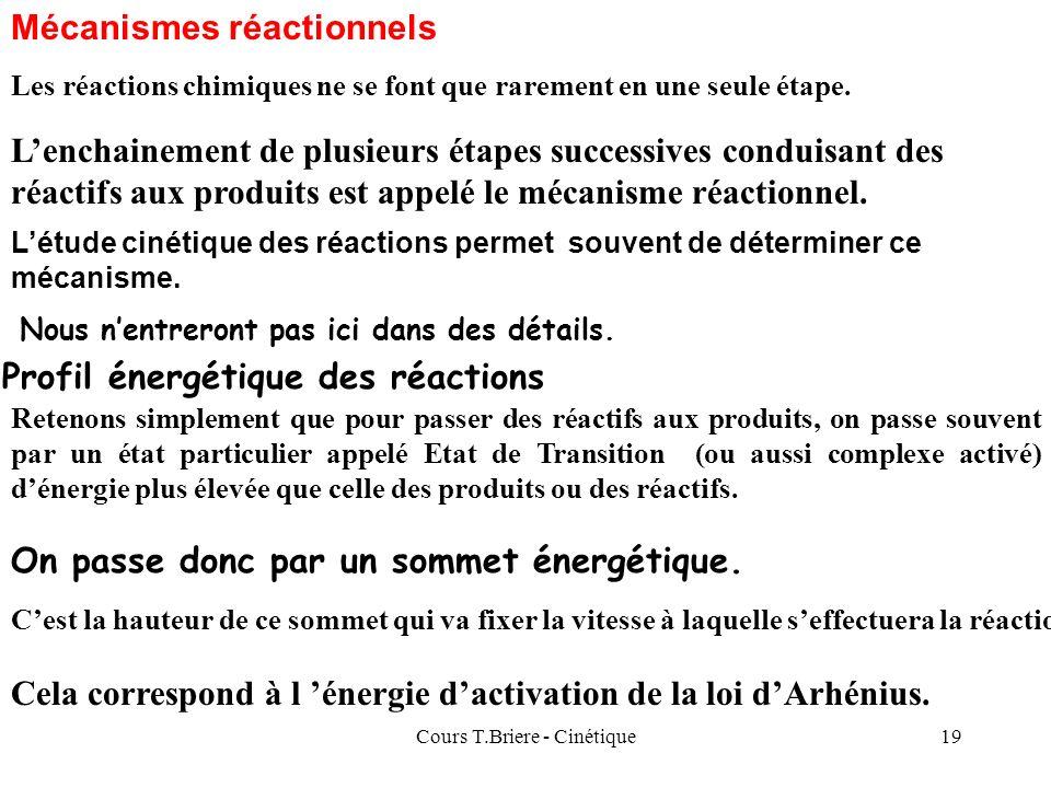 Cours T.Briere - Cinétique18 Facteurs influençant la vitesse des réactions : Les concentrations des réactifs influencent fortement la vitesse : plus l