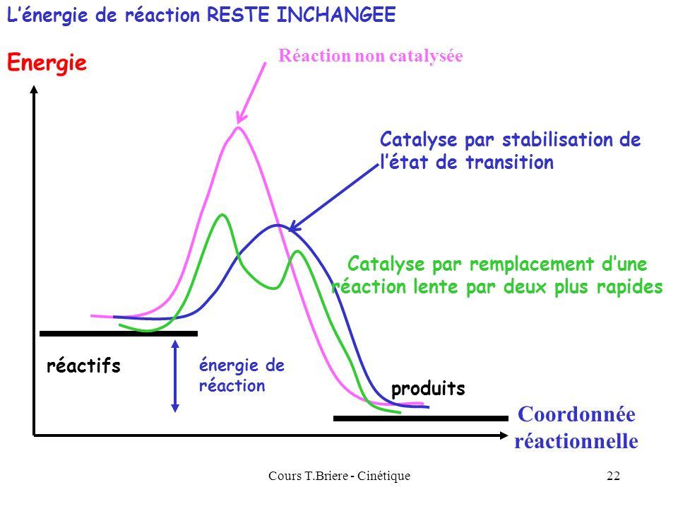 Cours T.Briere - Cinétique21 Catalyse Un catalyseur permet daugmenter sensiblement la vitesse dune réaction chimique. Le catalyseur napparaît jamais d