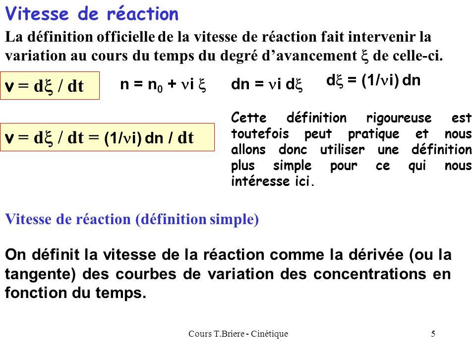 Cours T.Briere - Cinétique5 La définition officielle de la vitesse de réaction fait intervenir la variation au cours du temps du degré davancement de celle-ci.