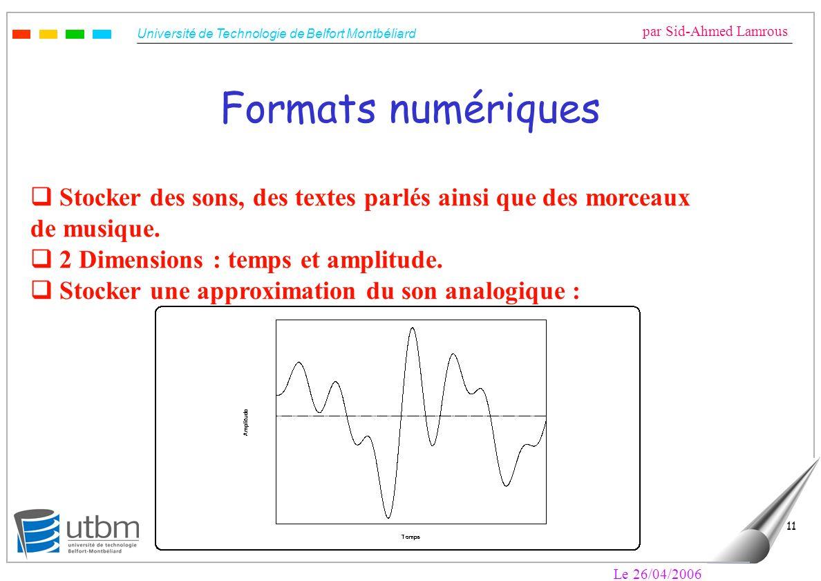 Université de Technologie de Belfort Montbéliard par Sid-Ahmed Lamrous Le 26/04/2006 11 Formats numériques Stocker des sons, des textes parlés ainsi que des morceaux de musique.