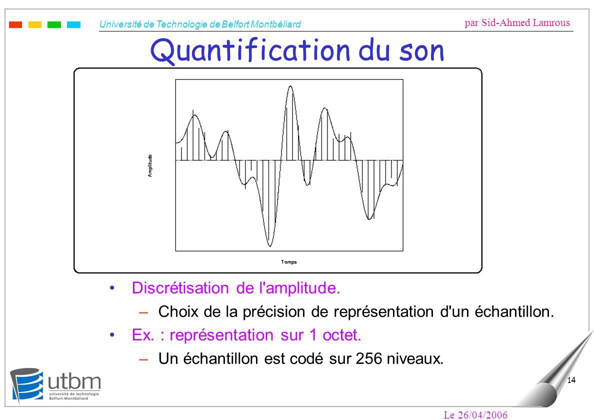 Université de Technologie de Belfort Montbéliard par Sid-Ahmed Lamrous Le 26/04/2006 14 Quantification du son Discrétisation de l'amplitude. –Choix de
