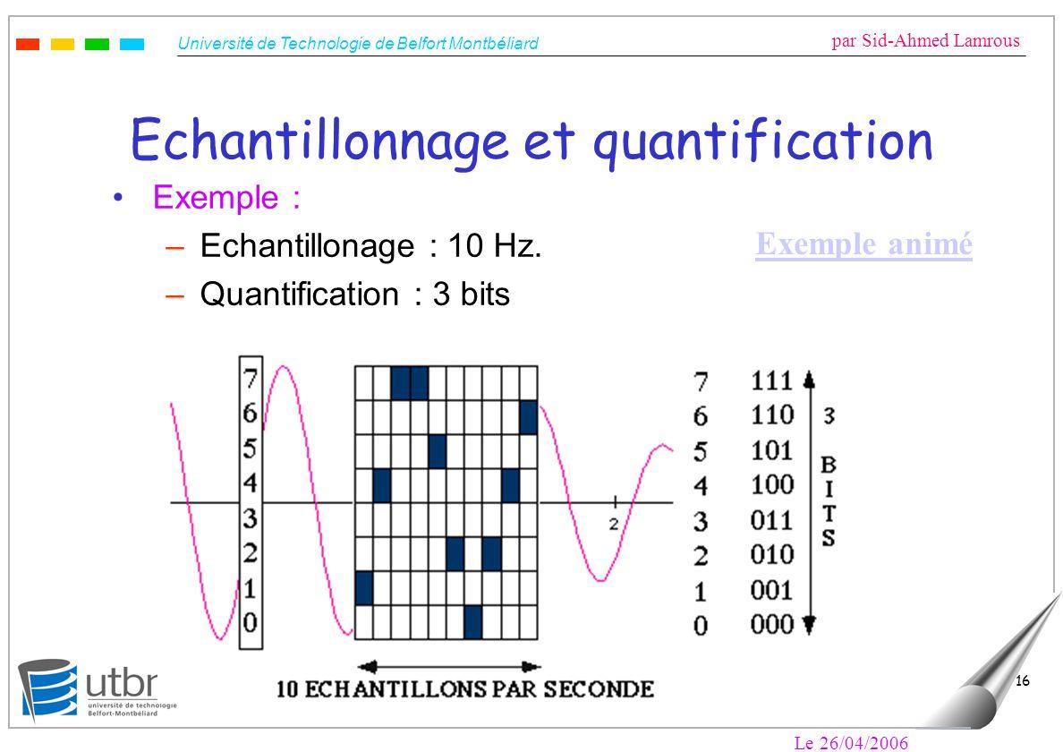 Université de Technologie de Belfort Montbéliard par Sid-Ahmed Lamrous Le 26/04/2006 16 Echantillonnage et quantification Exemple : –Echantillonage : 10 Hz.