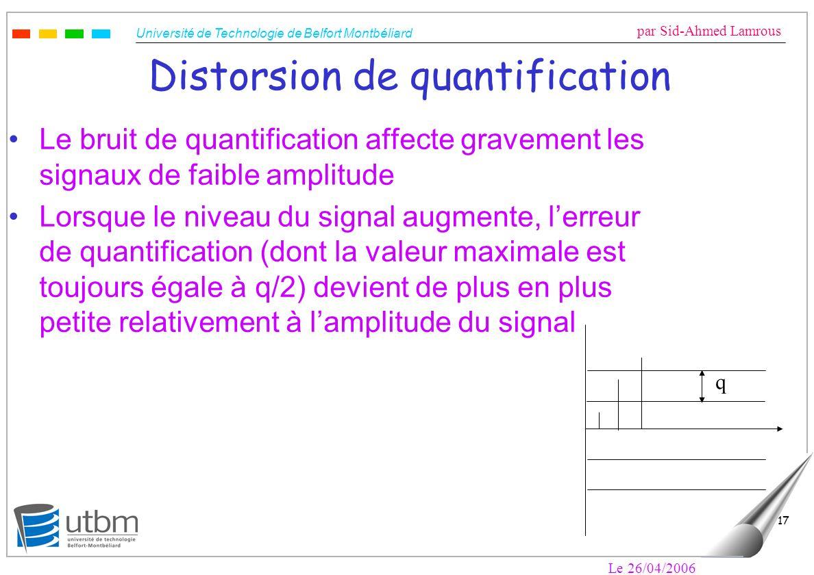 Université de Technologie de Belfort Montbéliard par Sid-Ahmed Lamrous Le 26/04/2006 17 Distorsion de quantification Le bruit de quantification affect